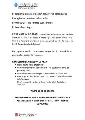 Avís servei consultori municipal Vilanova de Meià